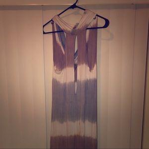 Beige white blue ombré maxi dress